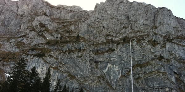 Die steile Wand  vor Augen