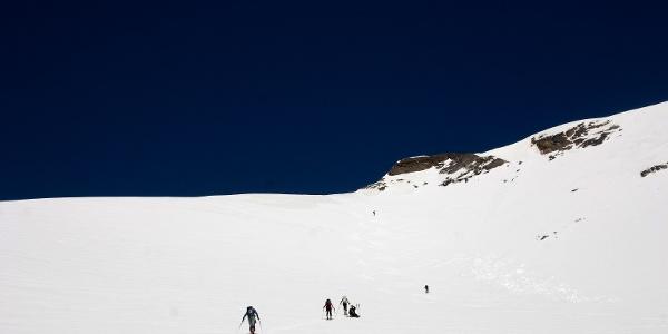 Letzte Steilstufe zum Passo della Vedretta Rossa hinauf