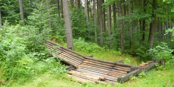 Die Waldhusche verdankt ihren Namen dieser Rutsche für Baumstämme