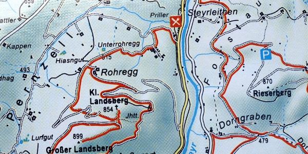 Wandtafel mit Karte Landsberge und Hüttenparkplatz Hochbuchberg