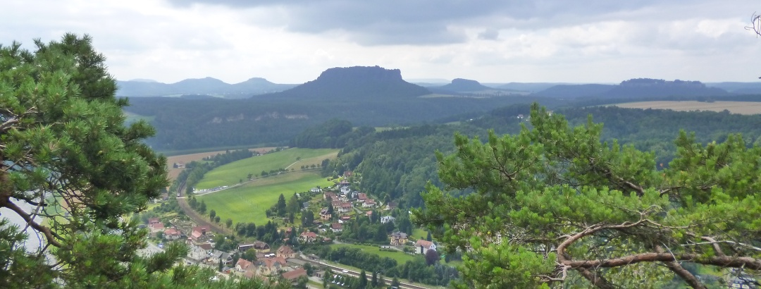 View of the table mountains of the Elbe Sandstone Mountains