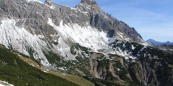 Die Zimba. Fotografiert aus dem Saula-Klettersteig.