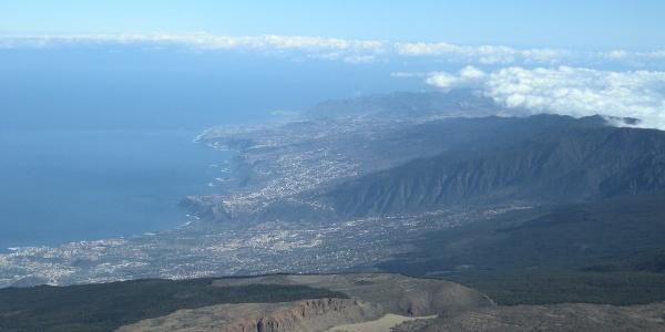 Der Blick vom Teide auf die Nordküste