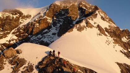 Erstes Eisfeld und Gratverlauf zum Gipfel