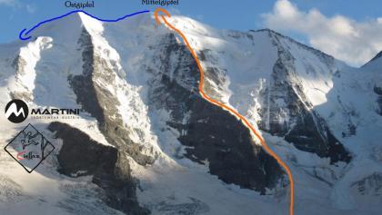 Nordwand Piz Palü mit eingezeichneter Route