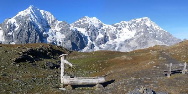 Königsspitze, Zebru und Ortler beim Anstieg zur Madritschhütte