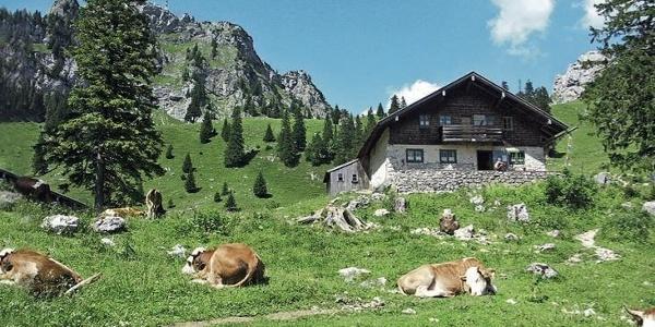 Bewirtschaftete Hütte auf der Wendelstein-Alm.