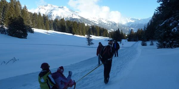 Die Verlängerung abwärts zum Skilift