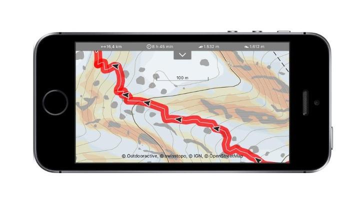 Outdooractive Karte mit Hangneigungslayer einer Skitour in den Stubaier Alpen