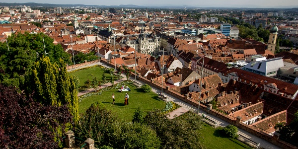 Blick vom Schlossberg auf die Altstadt von Graz