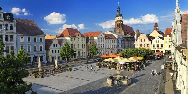 Blick über den Altmarkt in Cottbus
