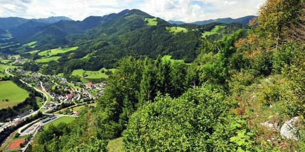 Blick von der Steinbachmauer über Göstling