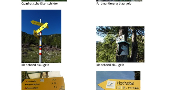 Wegmarkierungen am Panoramaweg Südalpen