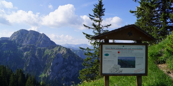 Blick in die Berge, mit Beschreibungstafel