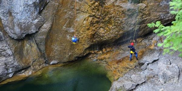 Canyoning Stuibenfälle - Abseilstelle