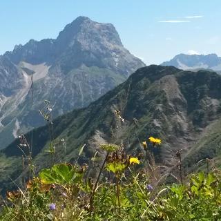 Blick vom Starzeljoch Richtung Unspitze und Widderstein