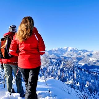 Naturpark Hohe Wand Winterwandern Schneebergblick