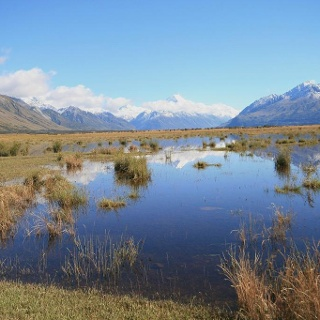 View over Mackenzie Country to Mount Cook