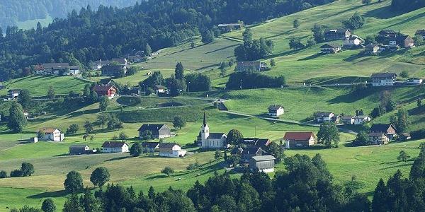 Blick auf Müselbach von Langenegg