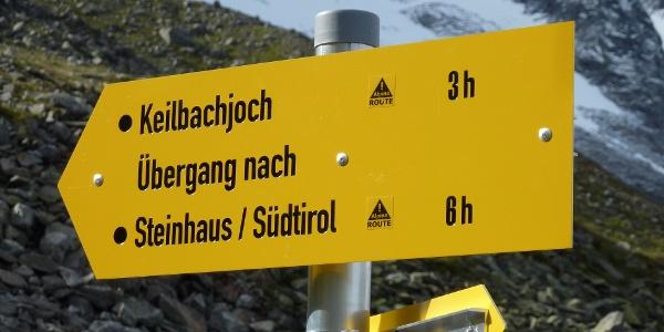 Abzweigung zum Keilbachjoch - Incrocio al Giogo del Canio