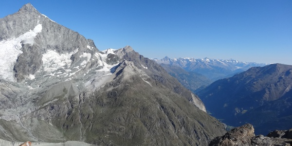 View down to the Mattertal with the Weisshorn (4,505 m) on the left