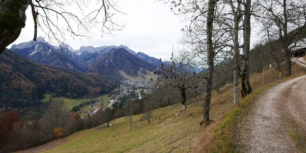 Blick vom Wanderweg auf Kranjska Gora
