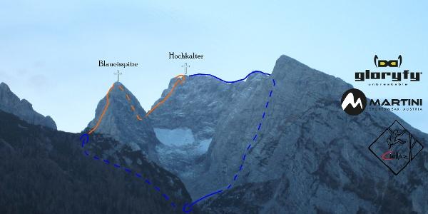 Blaueisumrahmung Übersichtsbild - Topo - Blaueisspitze und Hochkalter