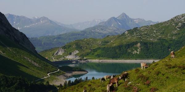 Blick von der Hütte zum Spuller See