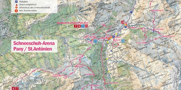Übersichtskarte 1:50'000 der Schneeschuh-Arena Pany/St.Antönien: an den Infotafeln (Startpunkte) und im Prospekt zu finden
