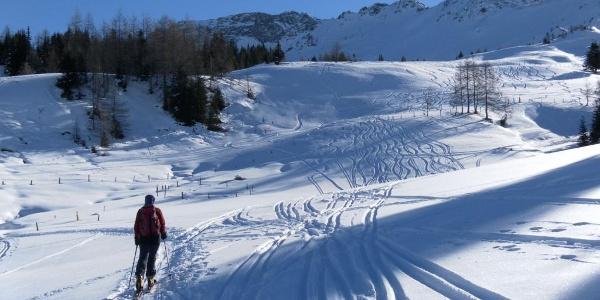 freier Blick zum Rührkübel mit Skischarte links davon