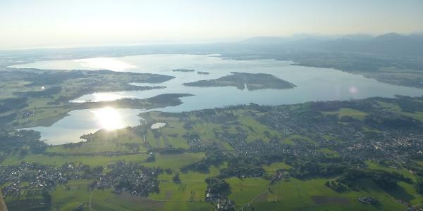 Luftaufnahme von Prien am Chiemsee