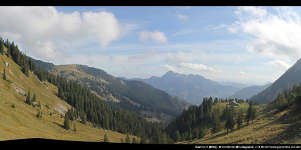 Rauhkopf (links), Wendelstein (Hintergrund) und Hochmiesing (rechts) von der Bergstation der Taubensteinbahn