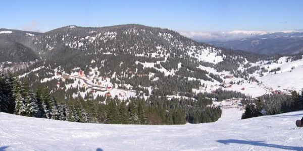 View from Vartop skiresort over Vartop Pass and Bihor Mountains