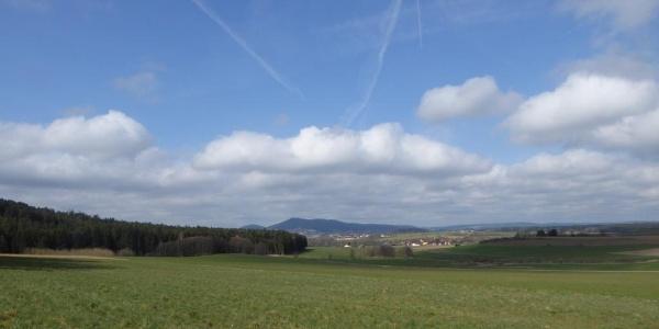 Blick zurück auf Rötz und den Schwarzwirhberg