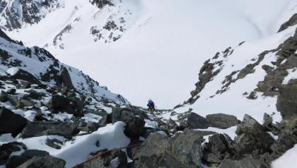 Vom Alpeiner Ferner auf die Wildgratscharte mit Blick auf Schwarzenbergferner
