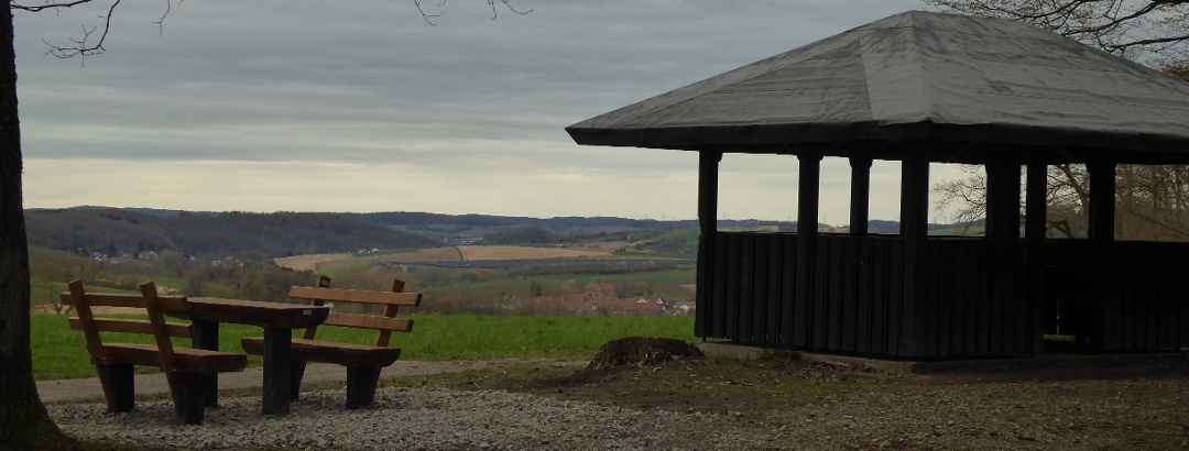 Sperbelbaum-Hütte mit Blick zum Kloster Lobenfeld