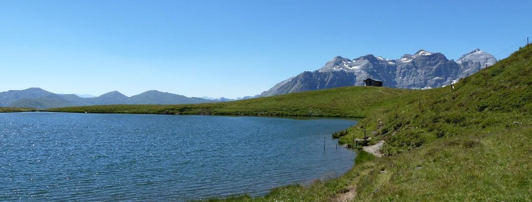 Der schöne Lichtsee eingebettet in sanfte Hügellandschaft