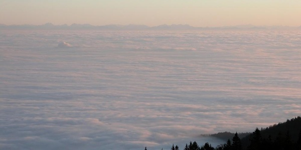 Blick vom Hirschenstein zu den Alpen