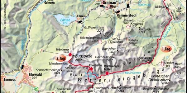 Die Zugspitztour - Übersicht über den Tourenverlauf dieser 3-Tages Tour