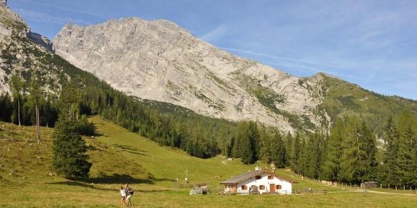 Blick von Kühroint hinüber zum Watzmannhaus auf dem Falzkopf