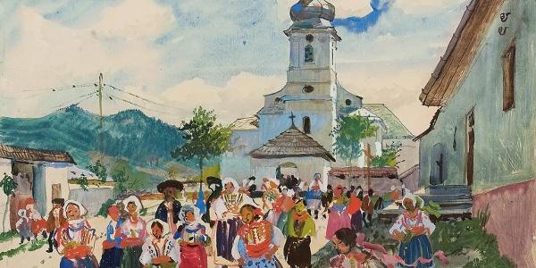LASKE, Oskar Kirchgang (Luzna in der Slowakei), 1930 Aquarell und Deckweiß auf Papier 38,9 x 50, 5 cm Privatbesitz
