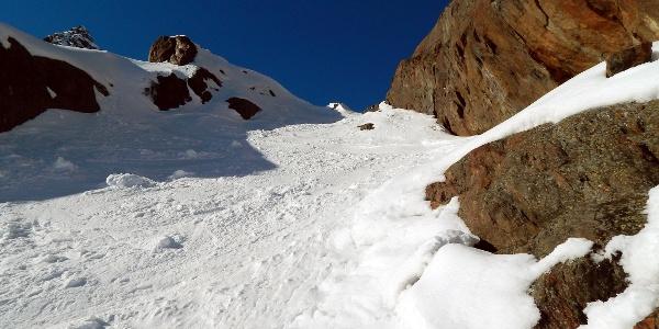 Steile Rinne hinauf zum Wilden Freiger-Ferner