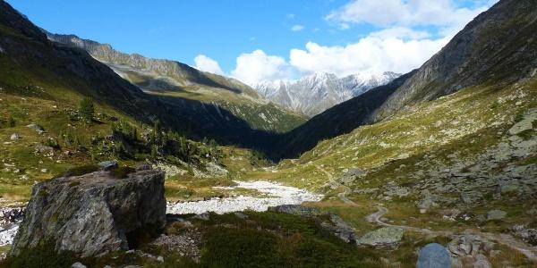 Rainbachtal, Blick Richtung Krimmler Achental (kurz unterhalb der Richterhütte)