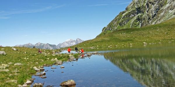 Der Herzsee liegt am Fuße des Hochjochs und dient der Wormser Hütte als Wasserspeicher.
