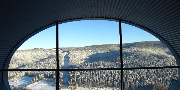 Blick aus der Kapsel des Anlaufturms