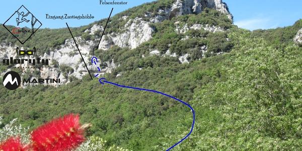 Grotta dell´Edera Übersichtsbild mit Zustieg