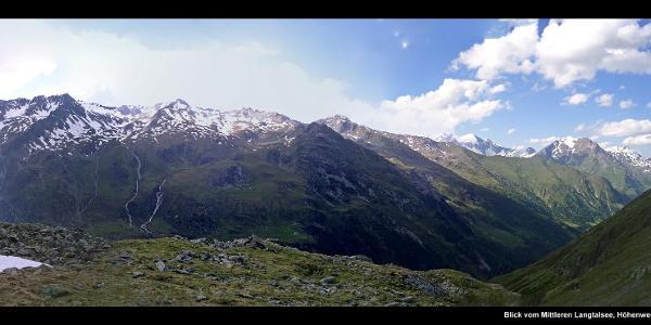 Blick vom Mittleren Langtalsee, Höhenweg zur Elberfelder Hütte