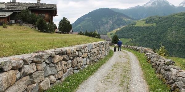 steingesäumter Weg bei Mompé Tujetsch