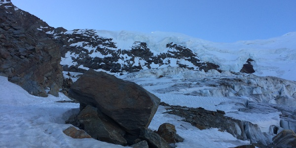 Am Anseilplatz kurz vor dem Gletscherbeginn.