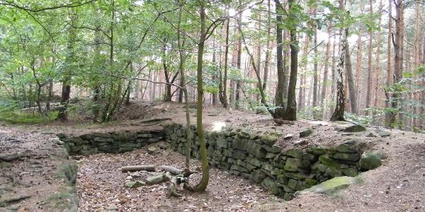 Die Heidenlöcher nordwestlich von Deidesheim sind die Überreste einer Fliehburg.